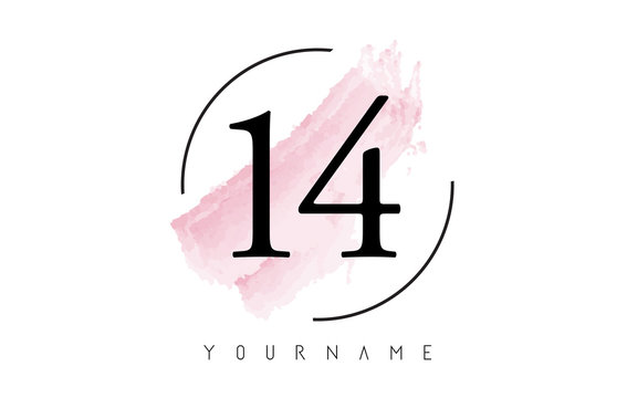 Number 14 Watercolor Stroke Logo Design with Circular Brush Pattern.