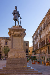 Palermo, Italy - Nov 7, 2019: Monument to Carl V (statua di Carlo V) in Palermo old town.
