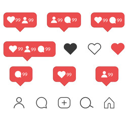 Instagram icons set. Like, comment, follower and notification Icons.Vector illustration isolated on white background