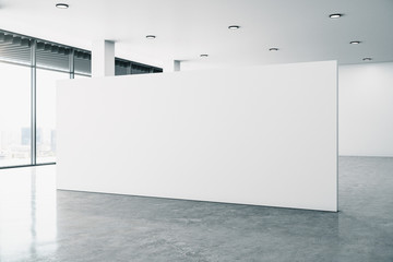 Minimalistic gallery interior with billboard
