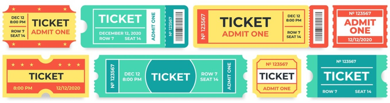 Admit one tickets. Circus entries coupon, retro cinema ticket and movie entrance coupons. Carnival festival invitation tickets, baseball admit coupon. Isolated vector icons set