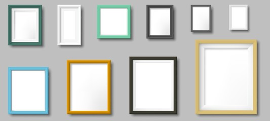 Realistic photo frame. Square and rectangular frames, photos on wall template. Photo border, photography portrait frame colorful signs. Isolated 3D realistic vector icons set