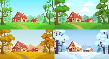 Poster Bleu clair Cartoon house in woods. Forest village four seasons landscapes. Spring, summer, autumn and winter trees. Forests house landscape, rural home or wood village cottage vector illustration