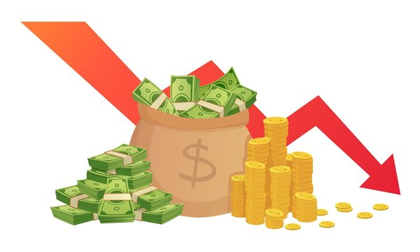 Bad finance graph. Loss of financial savings, inflation schedule and money loss. Bankruptcy, financial investment loss or market debt crisis. Low finance business isolated vector illustration