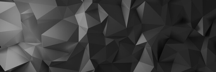 3d ILLUSTRATION, of black abstract crystal background, triangular texture, wide panoramic for wallpaper, 3d black background low poly design