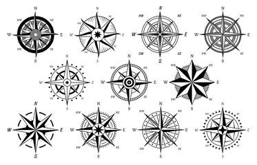 Vintage compass. Windrose antique compasses nautical cruise sailing symbols, sea travel marine navigation map element vector icons set Fotomurales