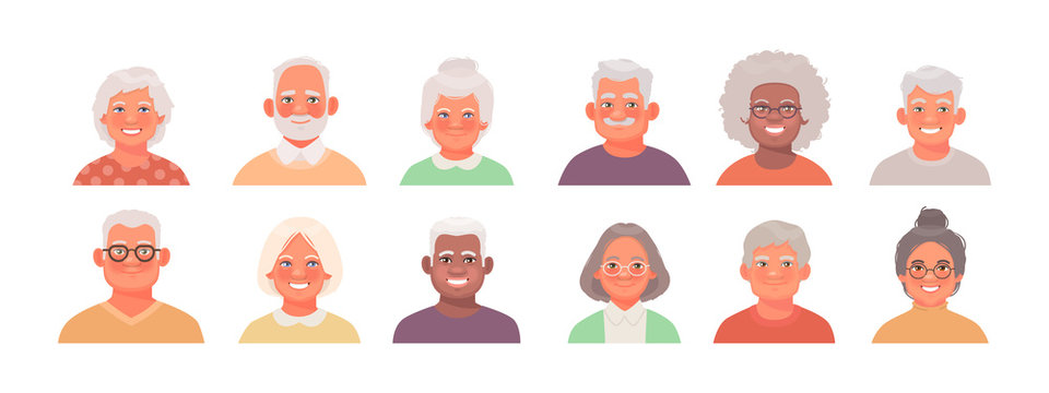 Set of avatars characters of older people. A collection of portraits of elderly men and women of different nationalities