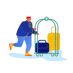 Bellhop, Bellboy or Bellman Pushing Luggage Cart with Suitcases, Hotel Staff Character in Blue Uniform Isolated on White Background. Meeting Guest Hospitality Service. Cartoon Flat Vector Illustration