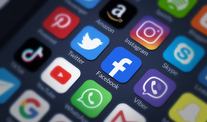 Icons of social media on screen