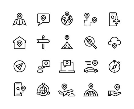 Route line icons. GPS navigation and tracking system, app UI graphic symbols for find device, home and work location. Vector set illustration pointer direction where, when target trip in car