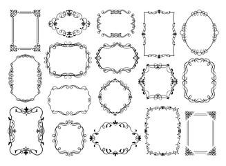 Vintage frames. Antique ornamental wedding borders, vector decorative floral frames for poster, logo, invitation card or social media stories. Ornate frame illustration set for retro empty certificate