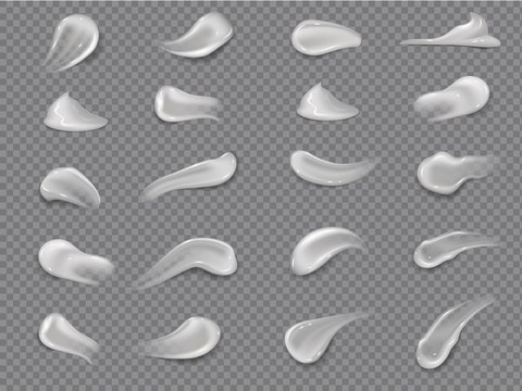 Cream strokes. Natural moisturizing milk creamed texture smear for healthy face skin. Vector illustration isolated cosmetics smooth drop moisturizer for body or facial moisturing on gray background