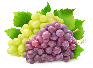 Isolated grape varieties. Bunch of white and red grapes with leaves isolated on white background...