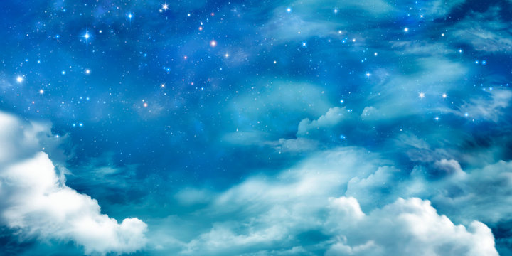 Fairy winter night sky with stars and clouds.