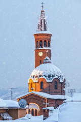 Catholic church covered in snow in Italy.