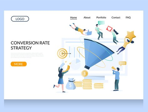 Conversion rate strategy vector website landing page design template