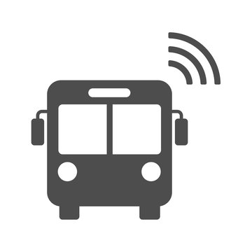 Smart bus vector icon isolated on white background. Smart bus with airwaves icon for web, mobile apps and ui design. Internet of things stock vector illustration. Iot technology concept