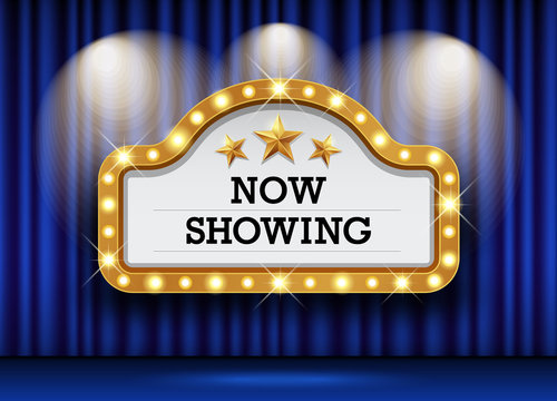 Cinema Theater and sign light up curtains blue design background, vector illustration