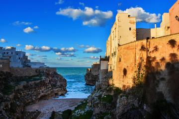 Winter evening at Lama Monachile beach, Polignano a Mare, Bari Province, Puglia region in southern Italy.