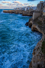 Evening winter scenic sight in Polignano a Mare, Bari Province, Puglia region in southern Italy.