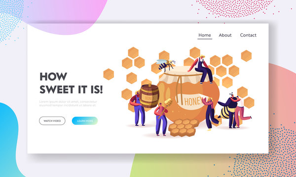 People Extracting and Eating Honey Website Landing Page. Beekeeper Taking Honeycomb and Put to Jar. Producing Natural Eco Product on Beekeeping Farm Web Page Banner. Cartoon Flat Vector Illustration