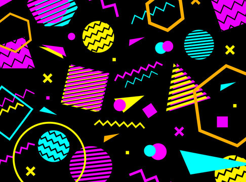 Geometric pattern in memphis 80-90s style on black background with geometric shapes. Vector illustration.