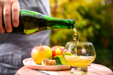 In de dag Alcohol Tasting of french apple cider made from new harvest apples outdoor in orchard