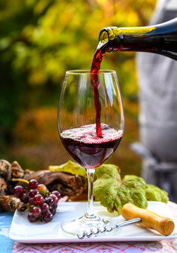 Pouring yound red beaujolais wine in glass during celebration of end of harvest and first sale release on third Thursday of November in Burgundy, France