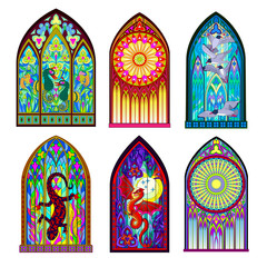 Set of different beautiful colorful stained glass windows in Gothic style. Middle age architecture in Western Europe. Modern print. Vector image.