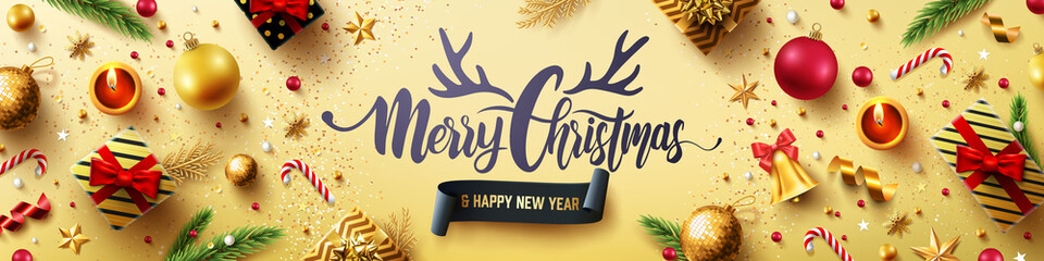 Merry Christmas and Happy New Years Golden Poster with golden gift box,ribbon and christmas decoration elements for Retail,Shopping or Christmas Promotion in golden style.Vector illustration EPS 10