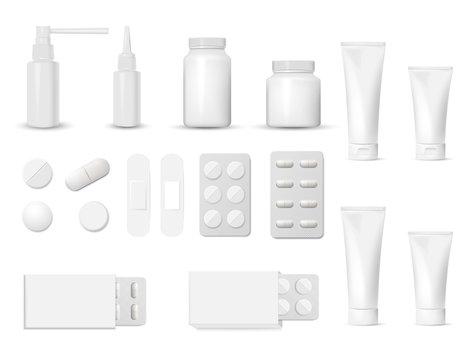 3d blank pharmaceutical packs: blister of pill and capsules, tube, container for tablet, bottle for drugs isolated on white background. Vector illustration.