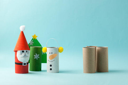 Santa claus, Grinch, Snowman from toilet tube roll for winter holiday decor. A terrible craft. School and kindergarten. Handcraft creative idea for Christmas Happy new year