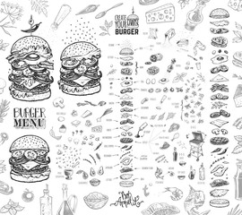 Fototapeta Burger menu. Vintage template with hand drawn sketches of hamburger and its ingredients. Engraving style vector icons - bun, cutlet, cucumbers, tomatoes and cheese. obraz