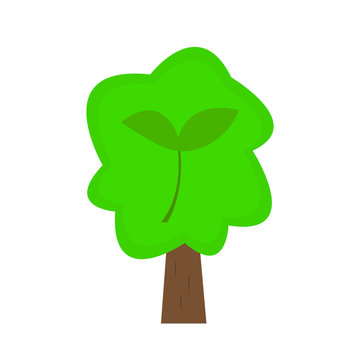 tree with green top and sprout pattern