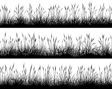 Horizontal banners of wheat field silhouettes.