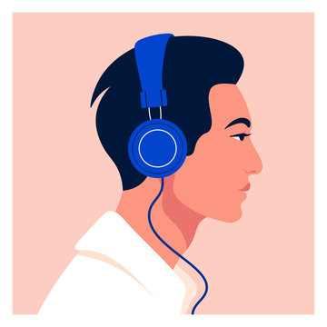 Asian man listen to music on headphones. Music therapy. Guy profile. Avatar. Vector flat illustration