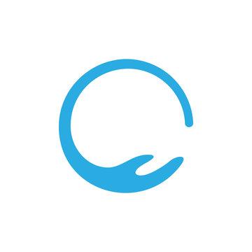 circle waves hand care shape logo vector