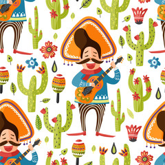 Mexican happy man in sombrero hat with guitar and cactus vector seamless pattern. Traditional Mexico cartoon flat illustration. Cinco de mayo latin party card.