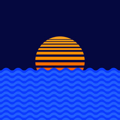 Foto auf Leinwand Dunkelblau Sun and sea water line icon. Sunrise symbol design. Vector illustration