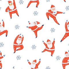 Seamless vector pattern with dancing Santa Claus in red costume and snowflakes. Cute handdrawn flat style. Christmas concept for card, wrapping paper,  banner, poster, flyer, web and any design.