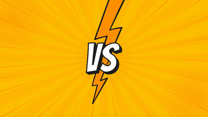 Versus VS sign with lightning bolt isolated on fight backgrounds in flat comics style design with halftone, lightning for battle, sport, competition, contest, match game. Vector illustration