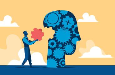 Head cogwheel puzzle. Man putting last piece to complete human head. Vector illustration