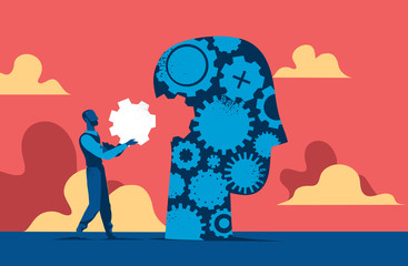 Man putting the missisng element into human head made of cogs. Vector illustration