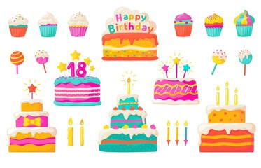 Birthday cakes. Party celebration cupcake with candles and invitation, colorful and chocolate flat cakes. Vector set tasty dessert main dish of holiday and anniversary with chocolate and sweet