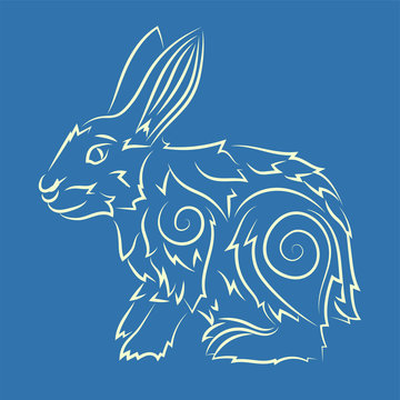 Hand drawn line art with rabbit silhouette