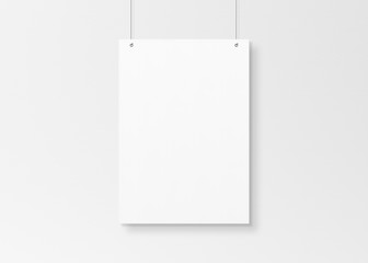 White poster isolated hanging by strings on wall mockup 3D rendering