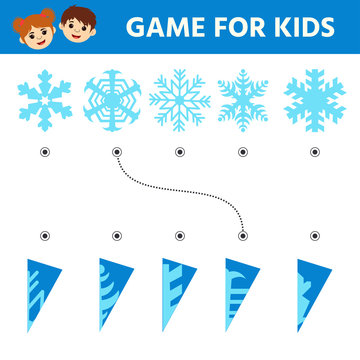 Education logic game for preschool kids. Kids activity sheet. Find the true shadows (silhouettes) of snowflakes. Children funny riddle entertainment.