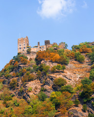 German travel landscape from village along the Rhine River with beautiful old architecture