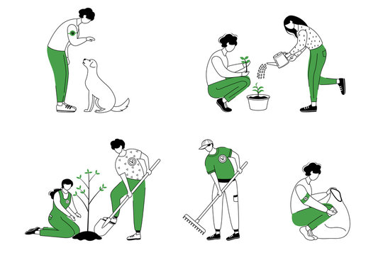 Community workers flat contour vector illustrations set. Social activists isolated cartoon outline characters on white background. Pet adoption, garbage cleaning and trees planting simple drawing