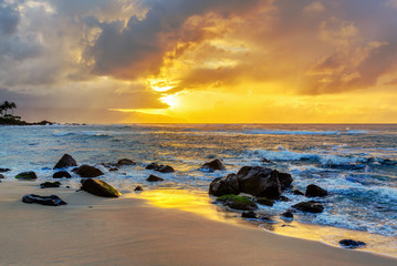 sunset at the North Shore of Oahu, Hawaii